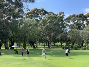 Women putting on 6th green at Cammeray Golf Club