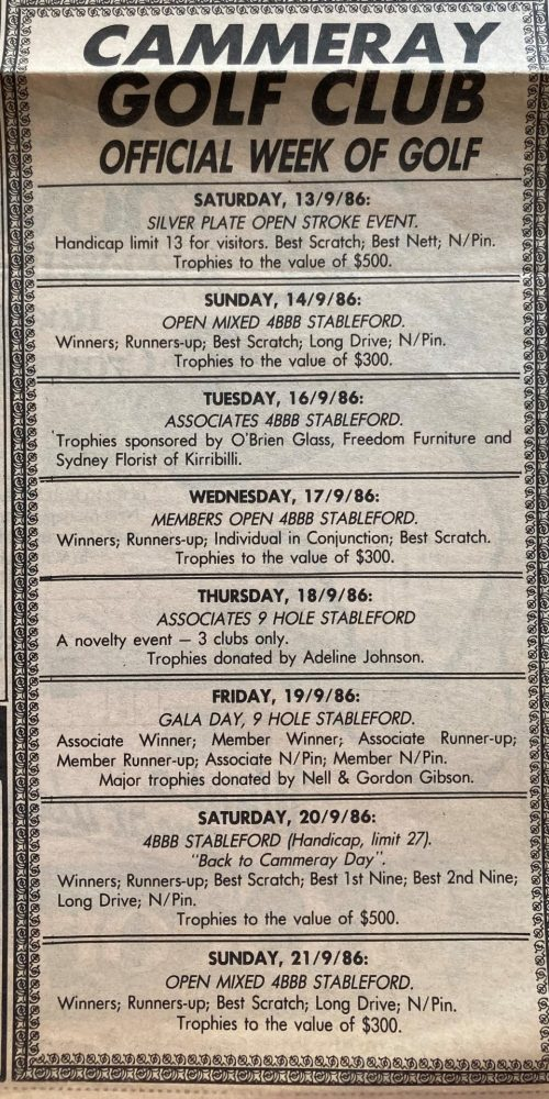 1986 North Shore Times Week of Golf
