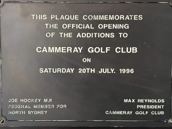 1996 Clubhouse plaque