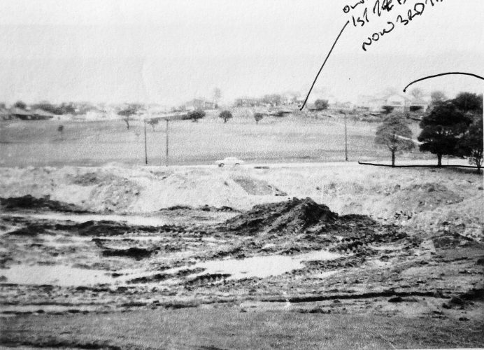Old 1st green looking back at tee.  Clubhouse in top right corner.